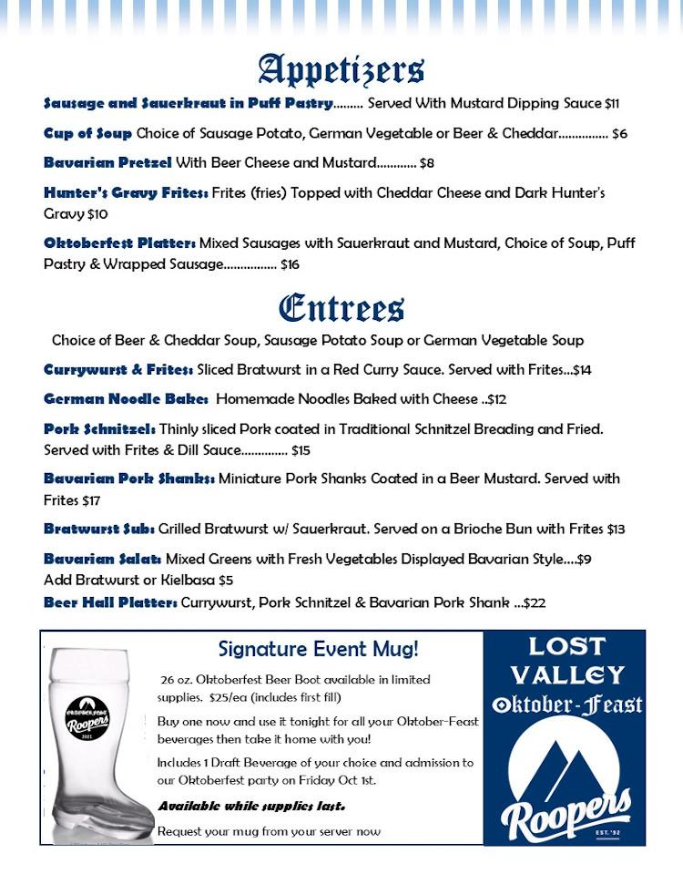 oktoberfest food menu lost valley